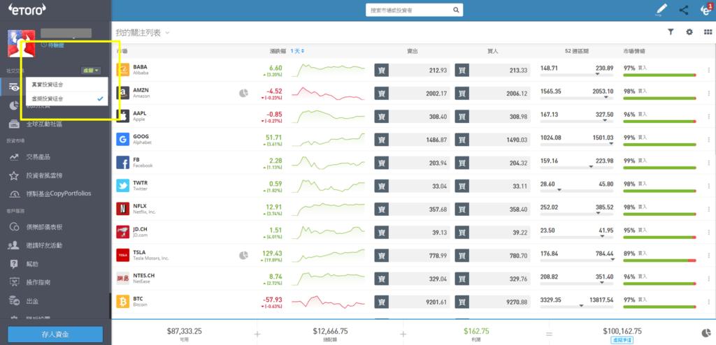eToro虛擬交易平台