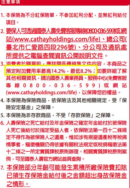 台灣國泰人壽儲蓄險預定業務費用